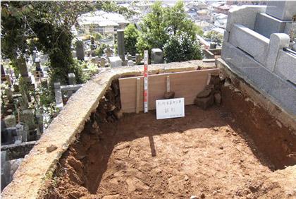 地盤を掘り下げD-BOXの施工開始